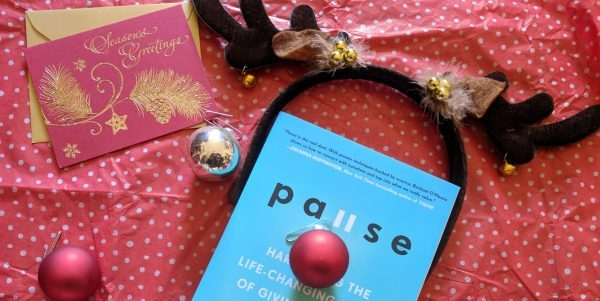 Pause the book with reindeer antlers