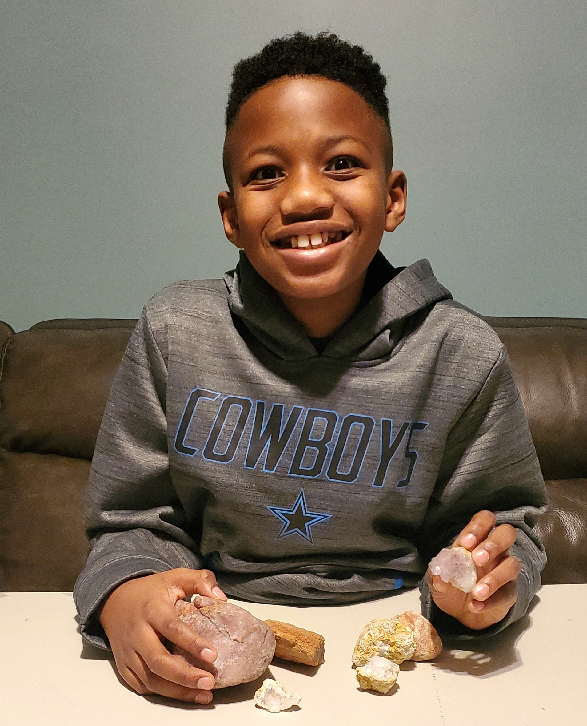Fifth-grader Jahari Barron hopes to become a geologist.