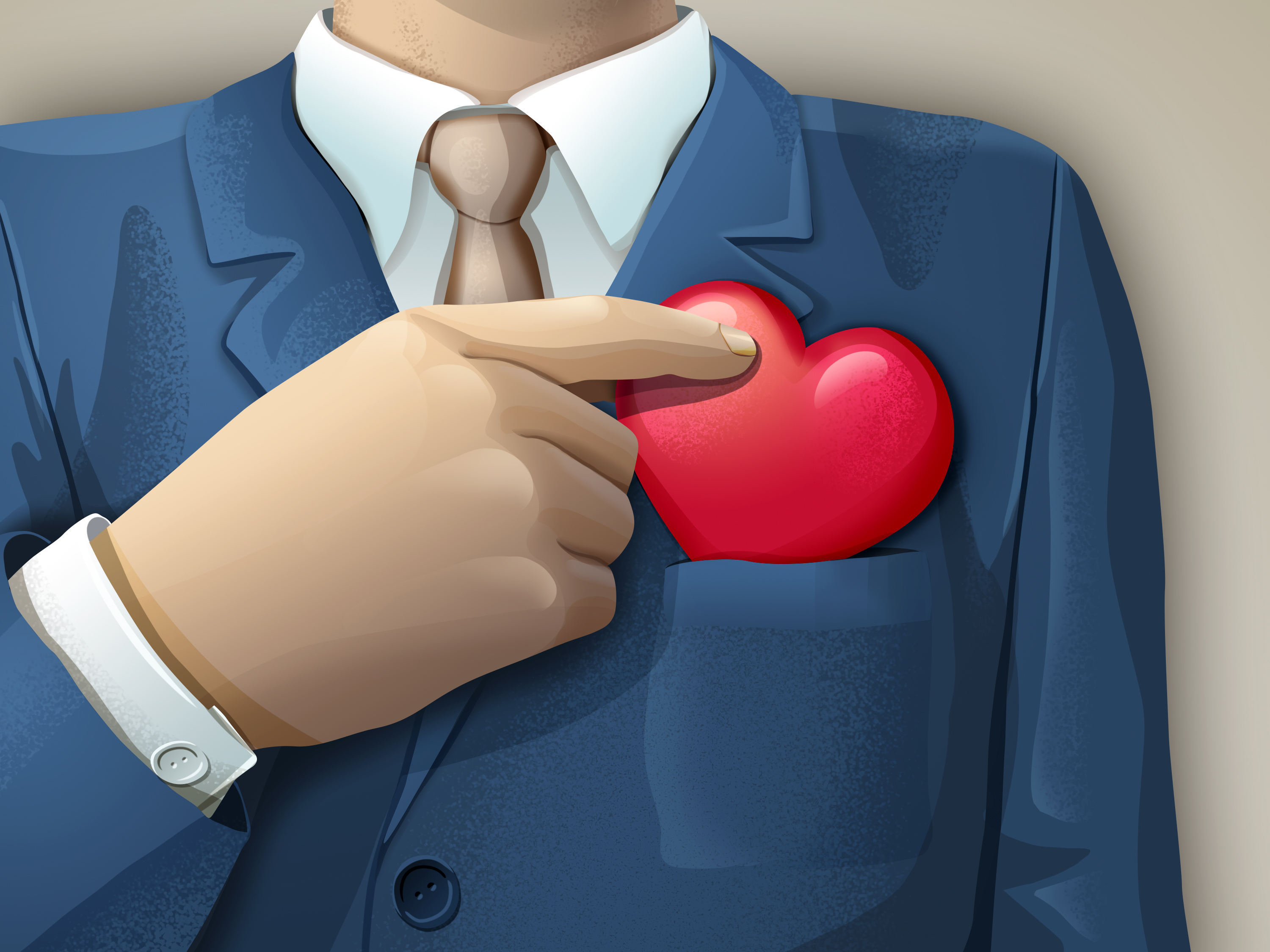 Businessman holding an heart shape between its fingers. Digital illustration.