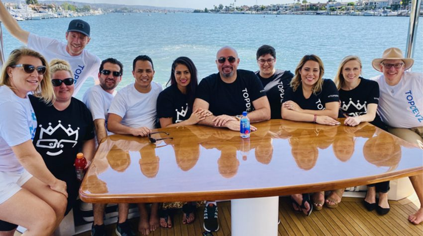 Ashkan Rajaee and the TopDevz team at a company outing