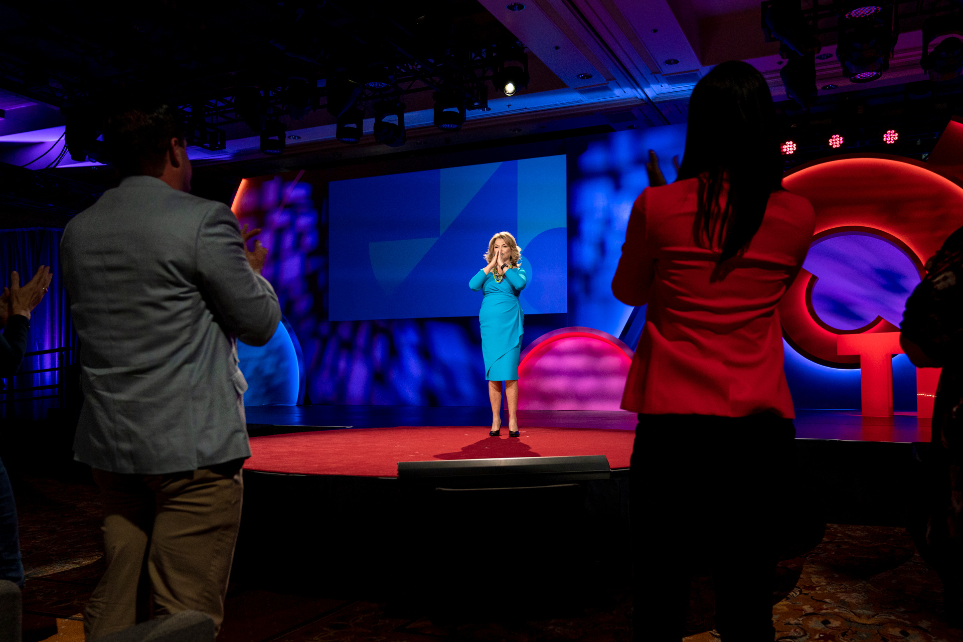 Expressing my joy, gratitude — and relief! — at the conclusion of my TED Talk.