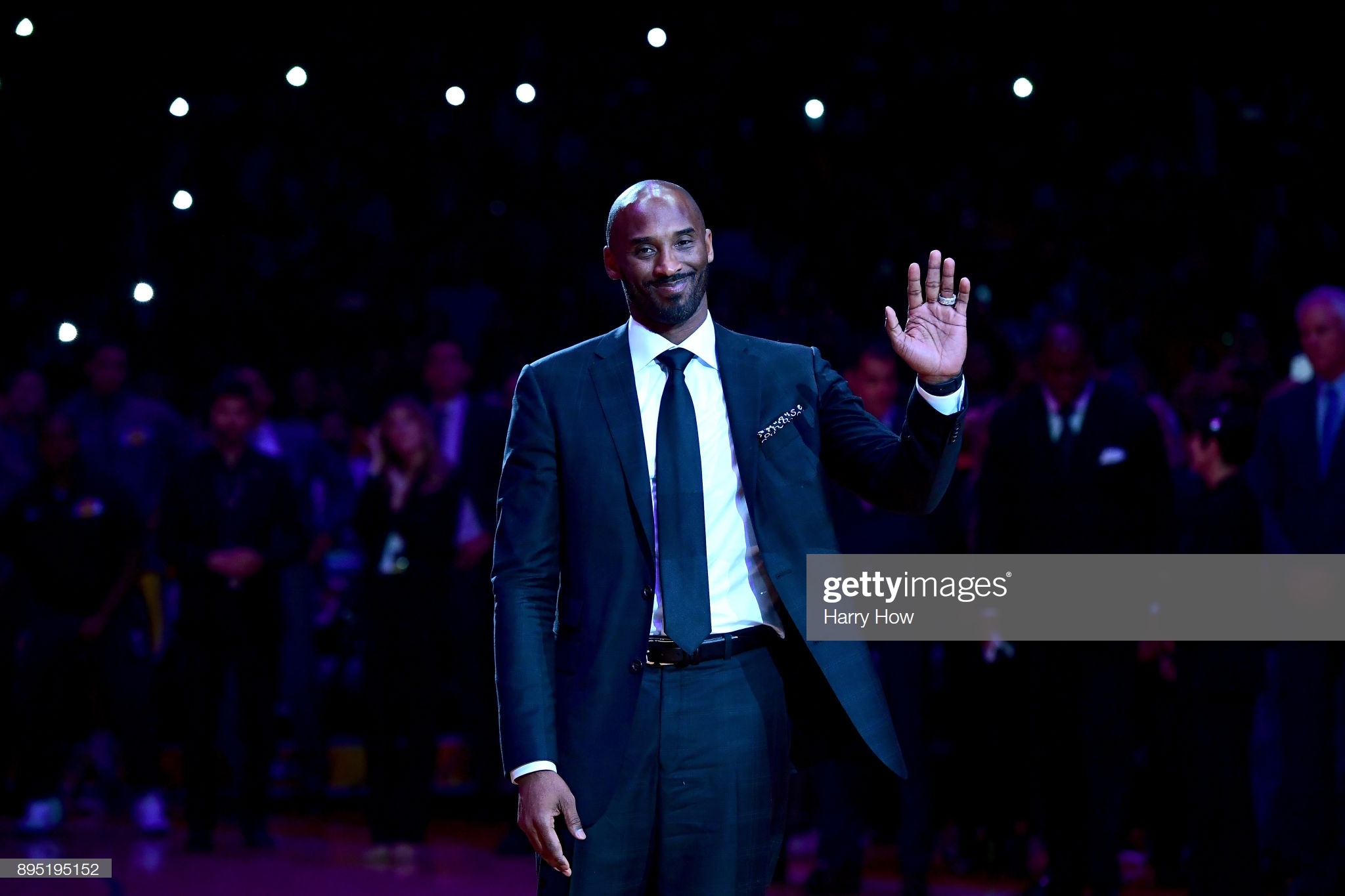 LOS ANGELES, CA - DECEMBER 18:  Kobe Bryant smiles at halftime as both his #8 and #24 Los Angeles Lakers jerseys are retired at Staples Center on December 18, 2017 in Los Angeles, California. NOTE TO USER: User expressly acknowledges and agrees that, by downloading and or using this photograph, User is consenting to the terms and conditions of the Getty Images License Agreement.  (Photo by Harry How/Getty Images)