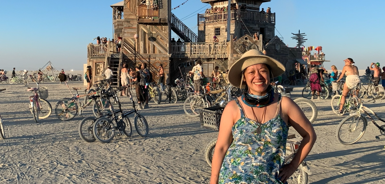 "Charlene Li in front of ""The Folly""​ at Burning Man 2019"