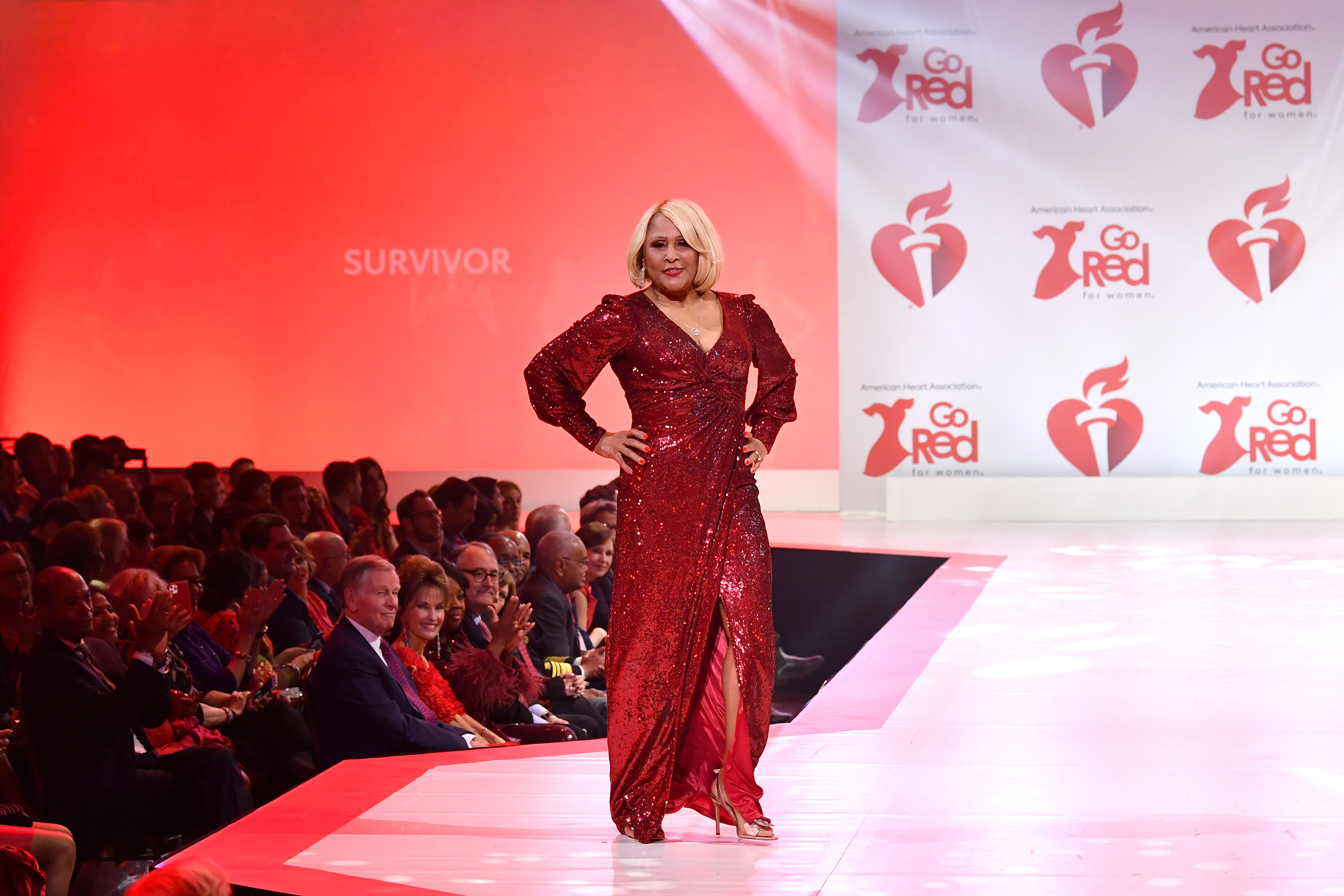 Darlene Love walks the runway at The American Heart Association's Go Red For Women Red Dress Collection 2020 on Feb. 05. Photo by Slaven Vlasic/Getty Images for American Heart Association