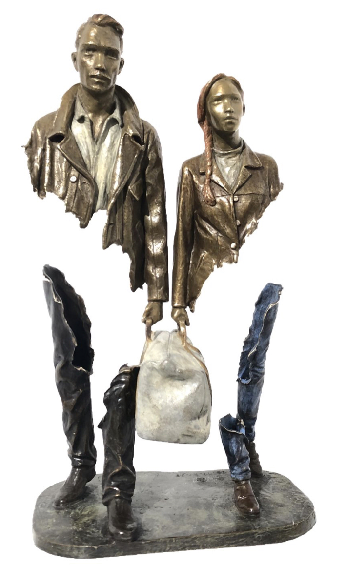 Statue by Bruno Catalano - the ulitmate depiction of ride or die