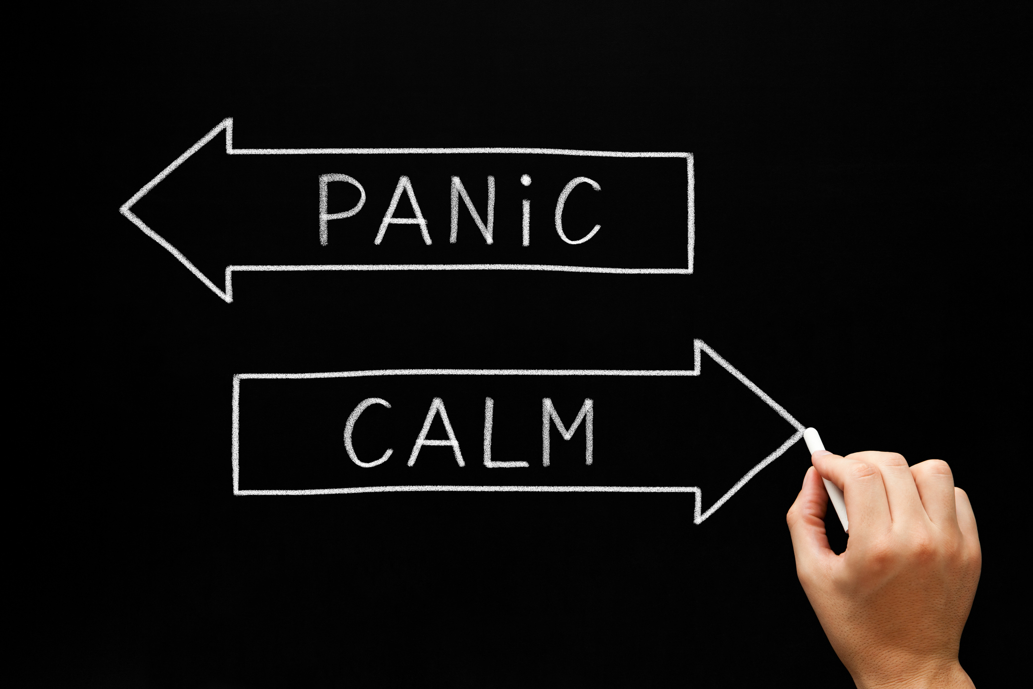 Hand drawing Panic or Calm concept with white chalk on blackboard.