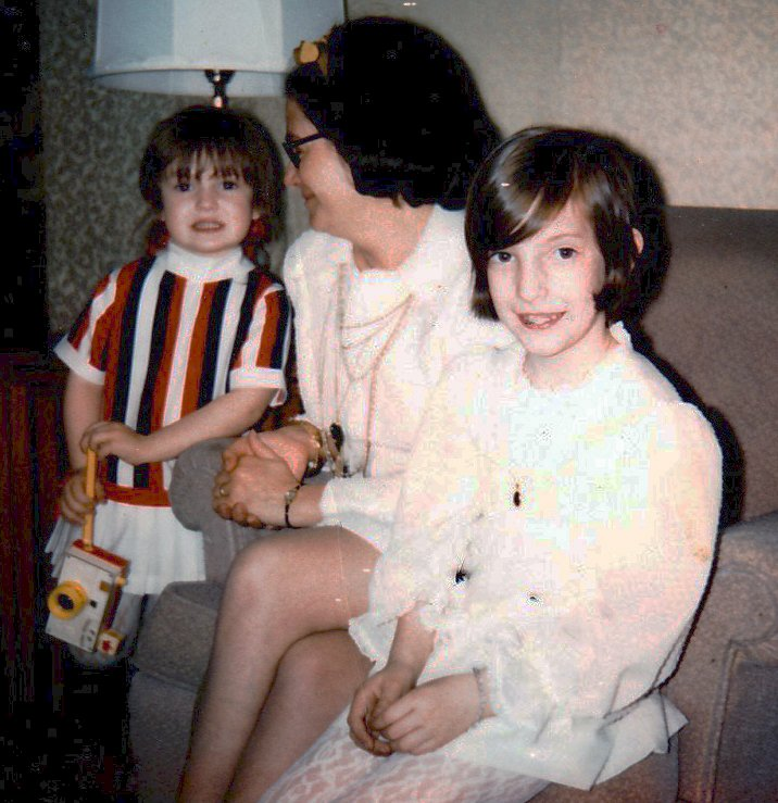 Amy, Nancy and Betty Harrington at Nancy's First Holy Communion c. 1971, Braintree, Massachusetts