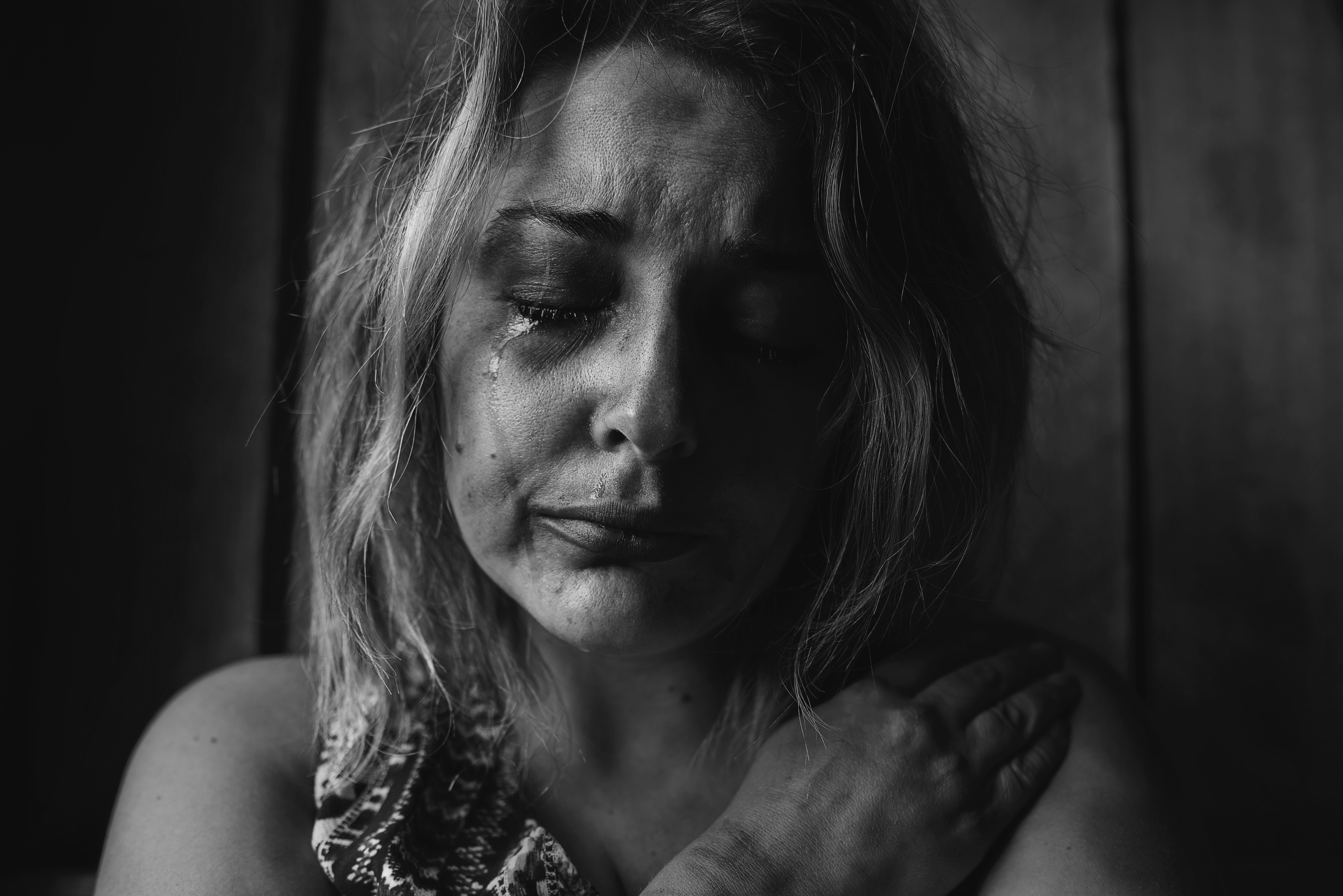 Black and White Picture of upset woman
