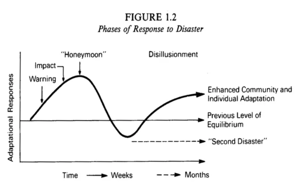 The phases of disaster response Image When disaster strikes Beverly Raphael 1986