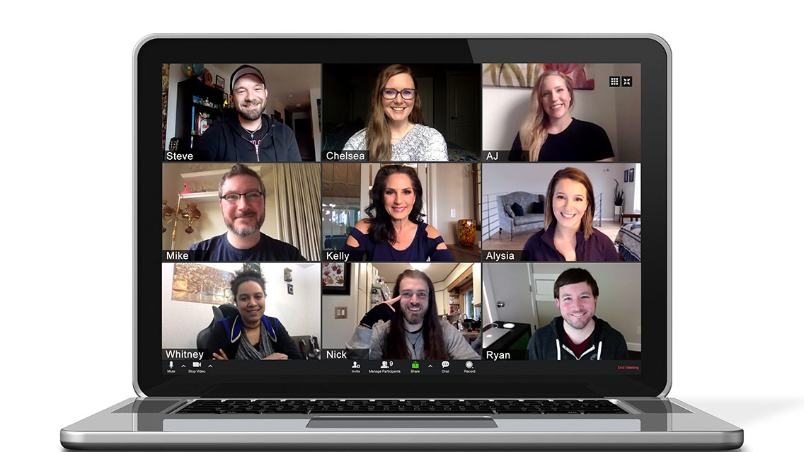 Zoom meeting with 9 people from VMG Studios