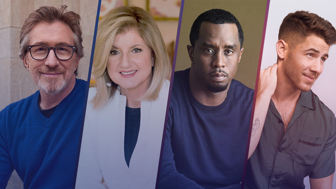 """Don Katz, founder and executive chairman, Audible / Arianna Huffington, founder and CEO, Thrive Global / Sean """"Diddy"""" Combs / Nick Jonas"""