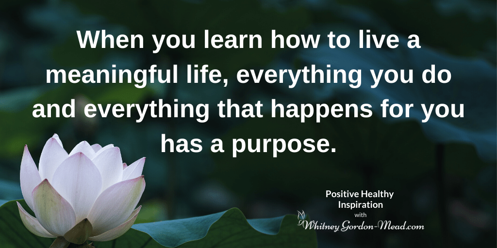 How to live a meaningful life quote on lotus background