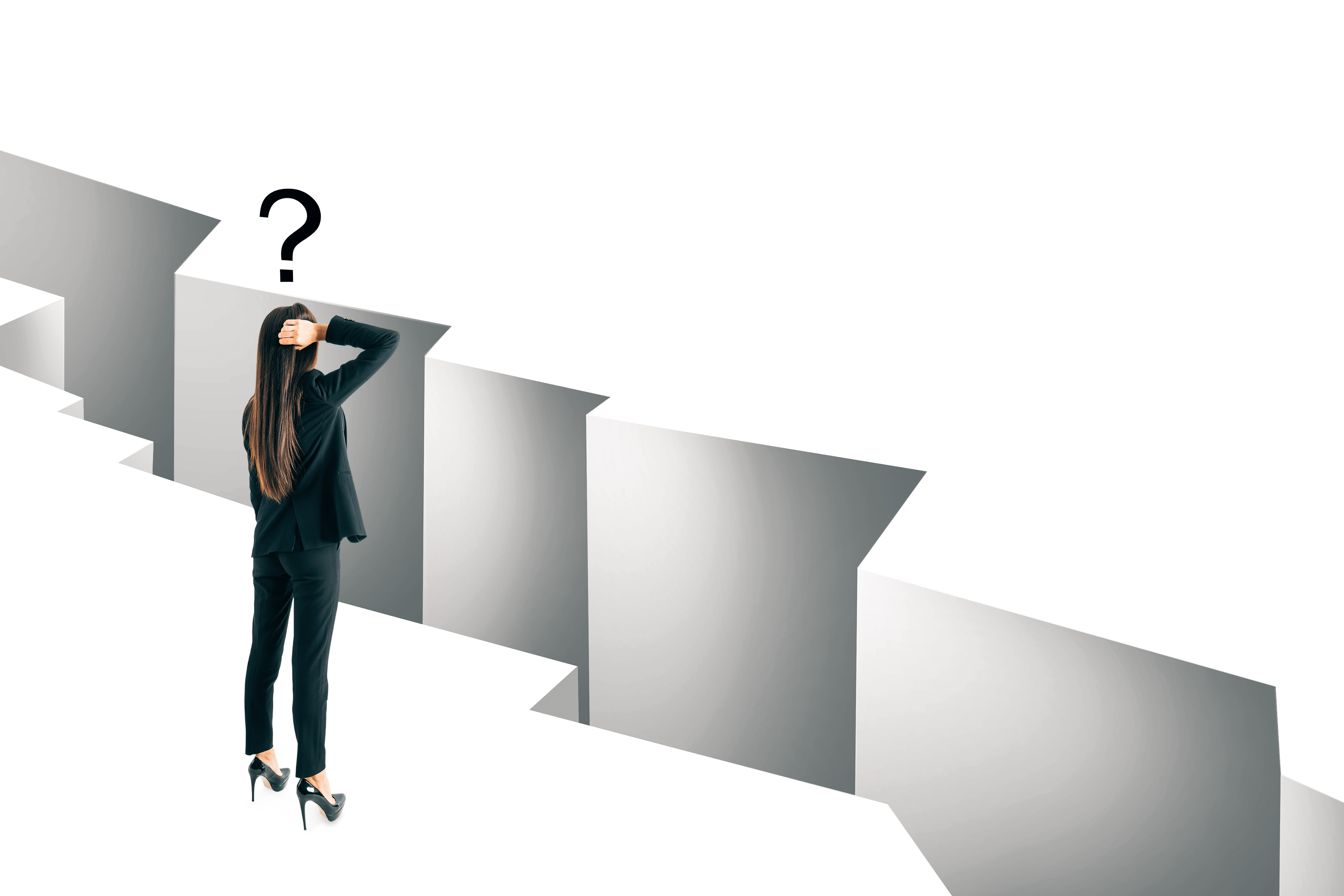 Thoughtful young businesswoman looking at gap with question mark. Challenge and doubt concept.