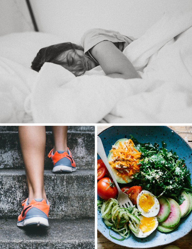 Sleep Photo by Kinga Cichewicz on UnsplashExercise Photo by Bruno Nascimento on Unsplash, Food Photo by Brooke Lark on Unsplash,