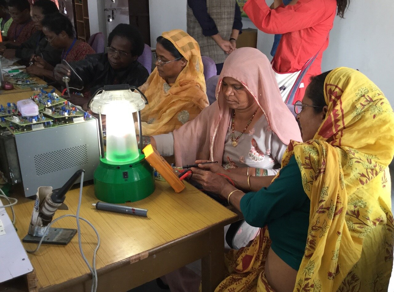 Solar Mamas in training at Barefoot College