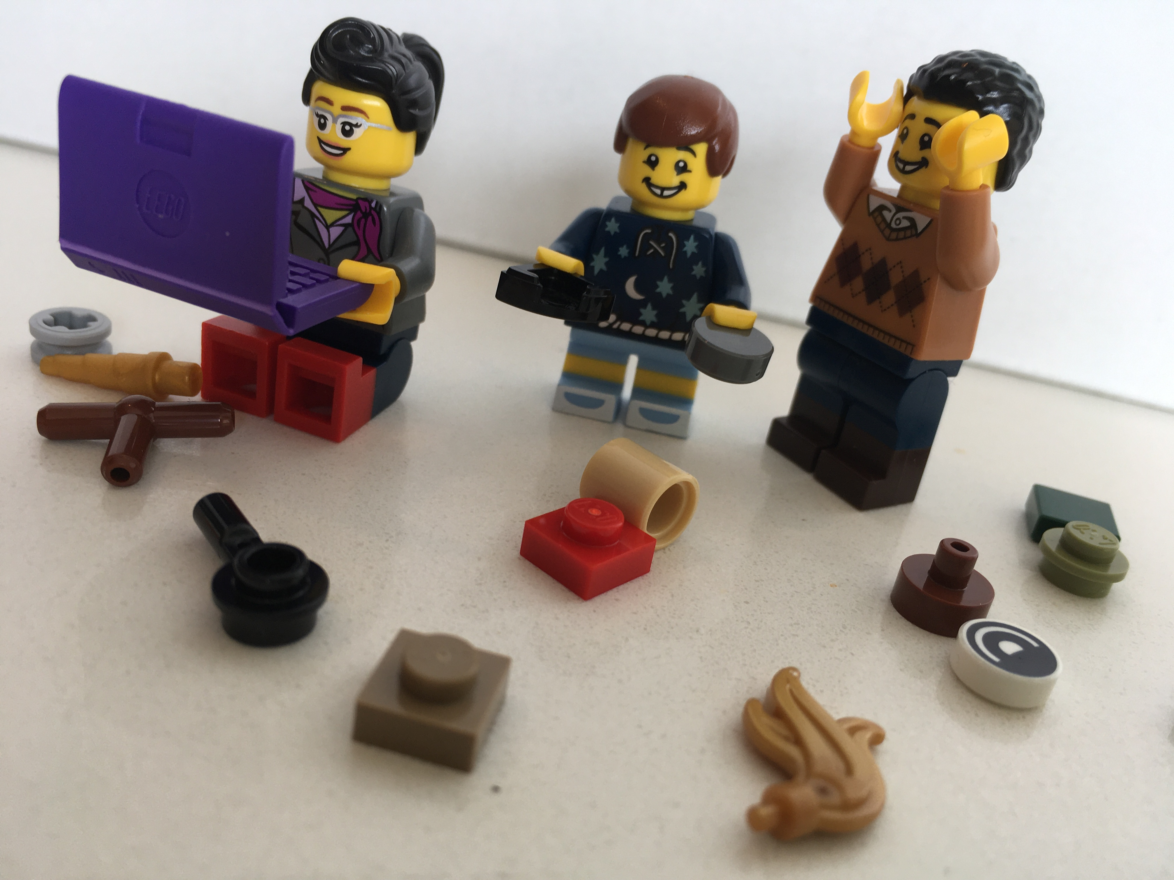 A depiction of semi-productive and frustrated parents in LEGO