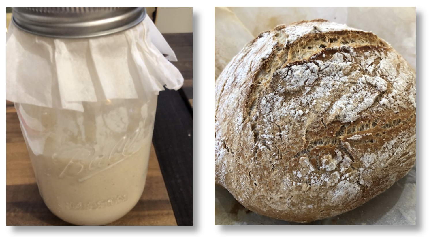 Sourdough starter and my best loaf of sourdough bread.