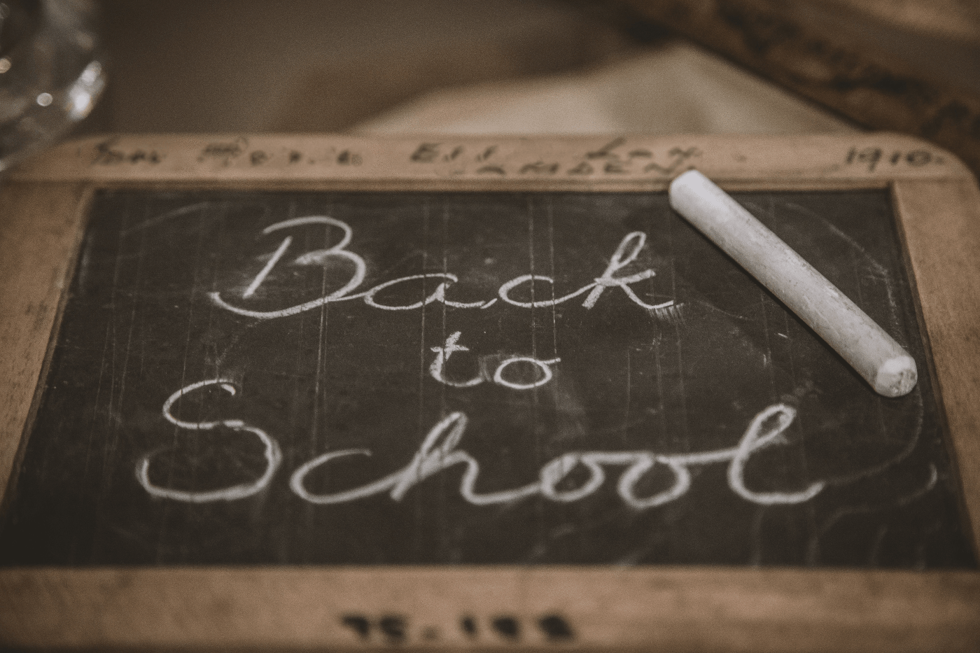 """Back to School"" written on a small chalkboard 