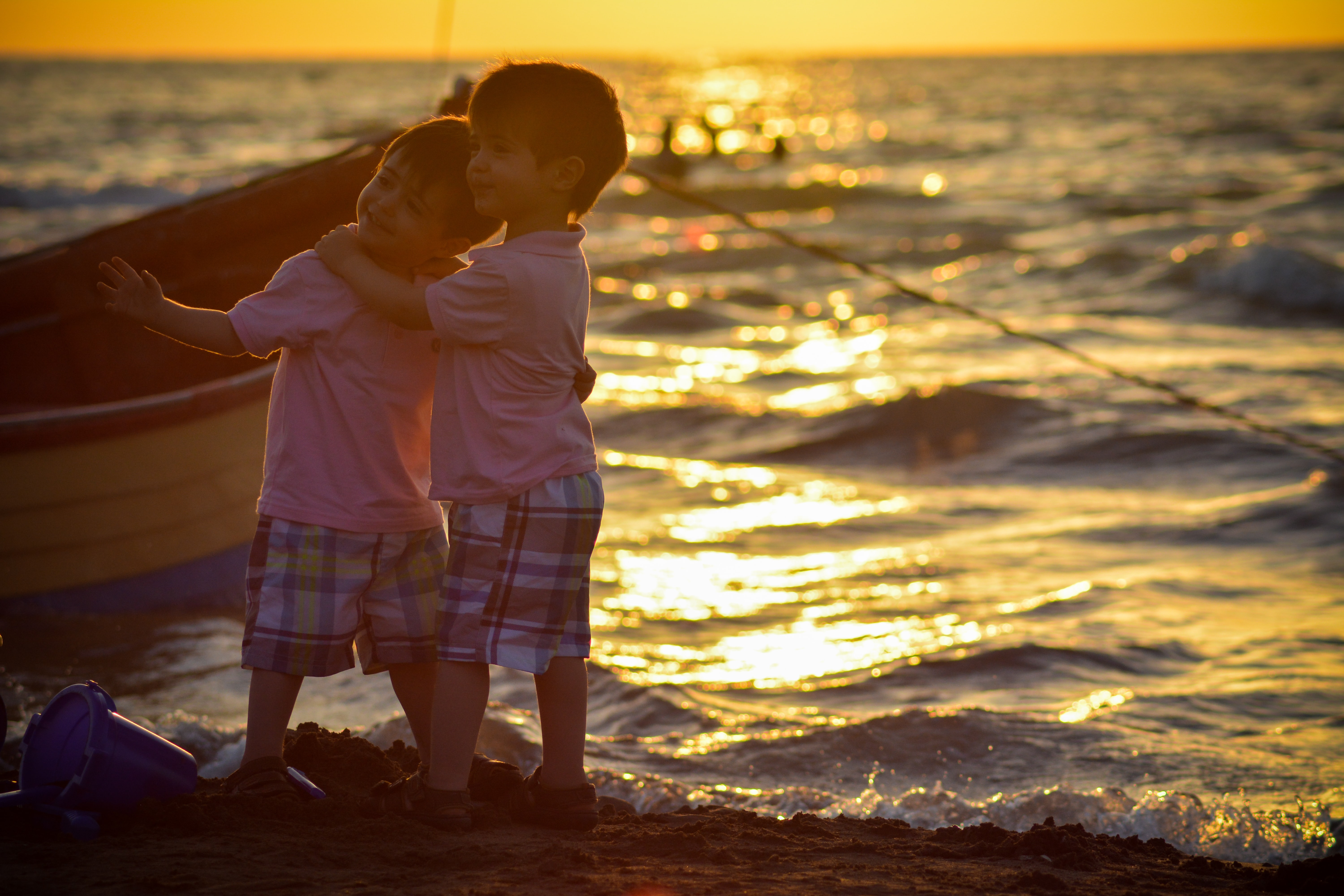 two children by the beach