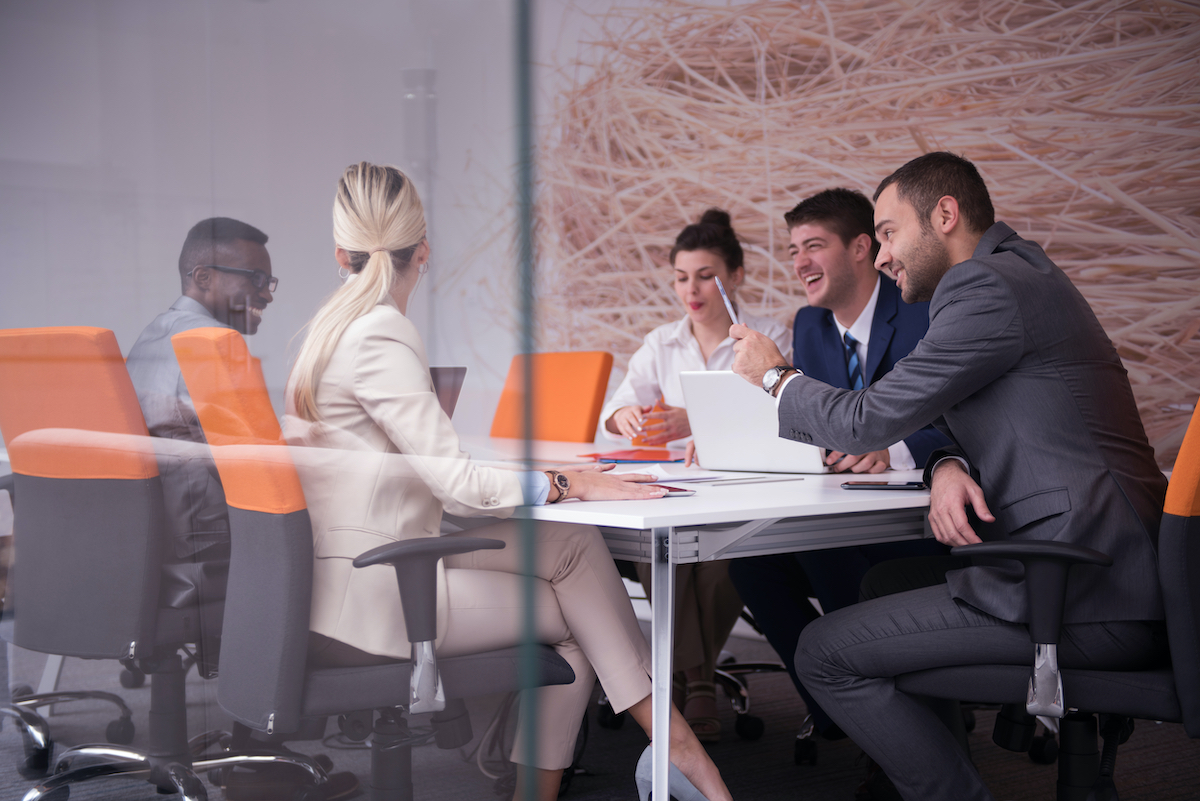 People collaborating in meeting