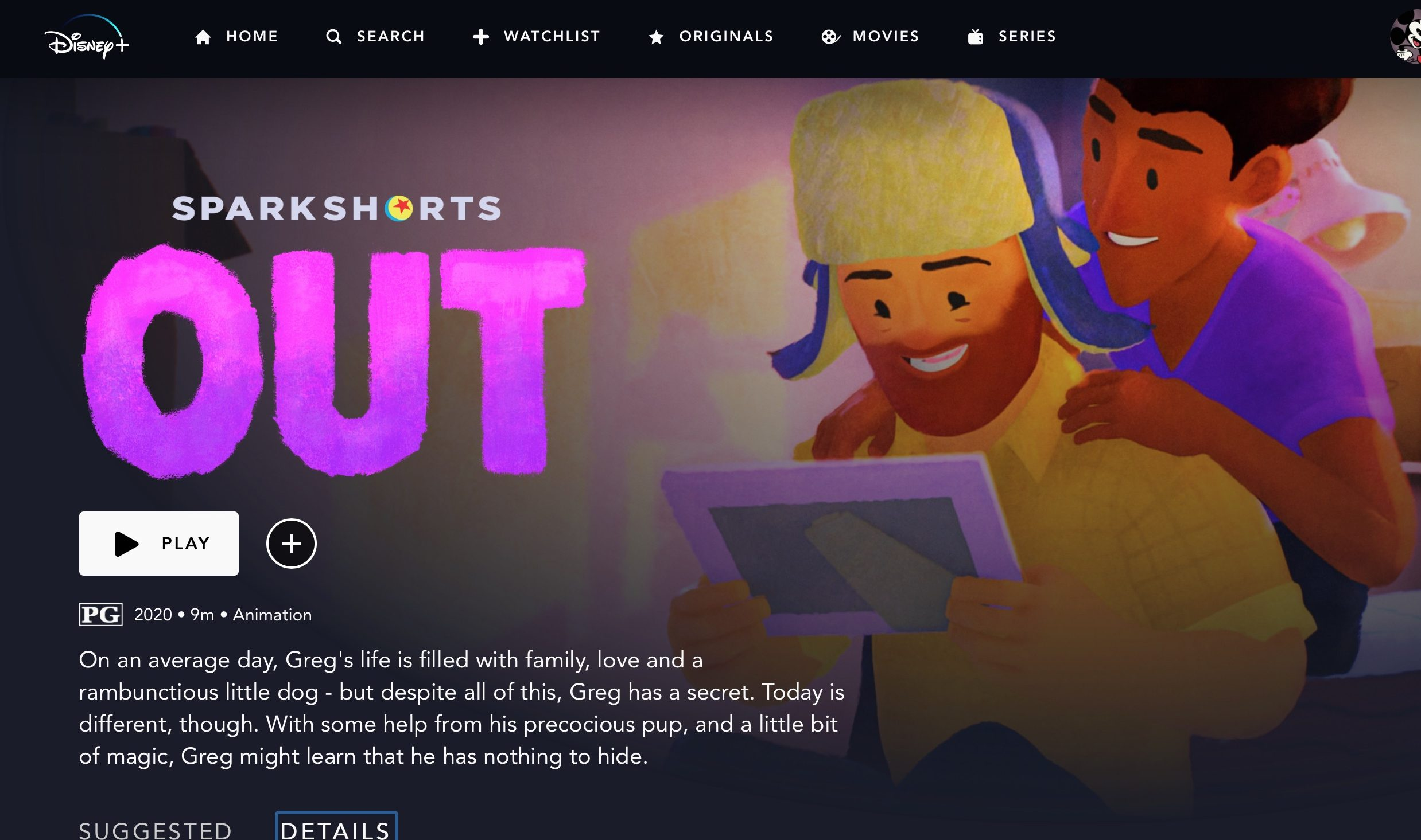 "Disney's ""Out""—a screen view via Disney Plus"