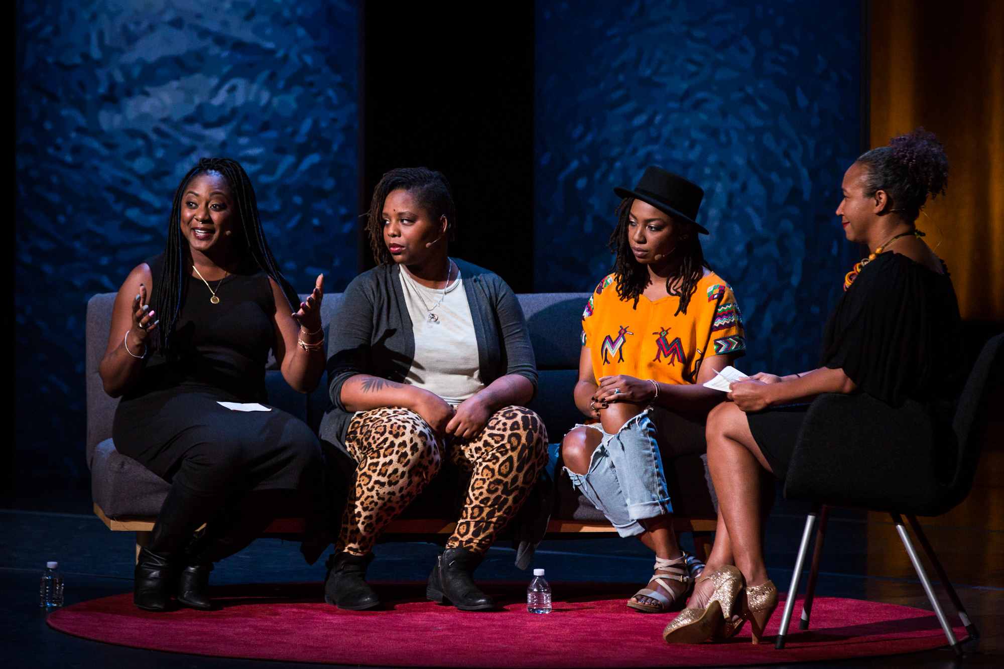 Founders of the Black Lives Matter movement (Alicia Garza, Patrisse Cullors, and Opal Tometi) interviewed by Mia Birdsong at TEDWomen 2016 - It's About Time, October 26-28, 2016, Yerba Buena Centre for the Arts, San Francisco, California. Photo: Marla Aufmuth / TED