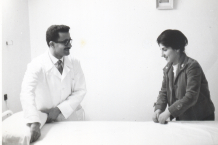 Dr. Keshishian at his medical office, with wife Cecile