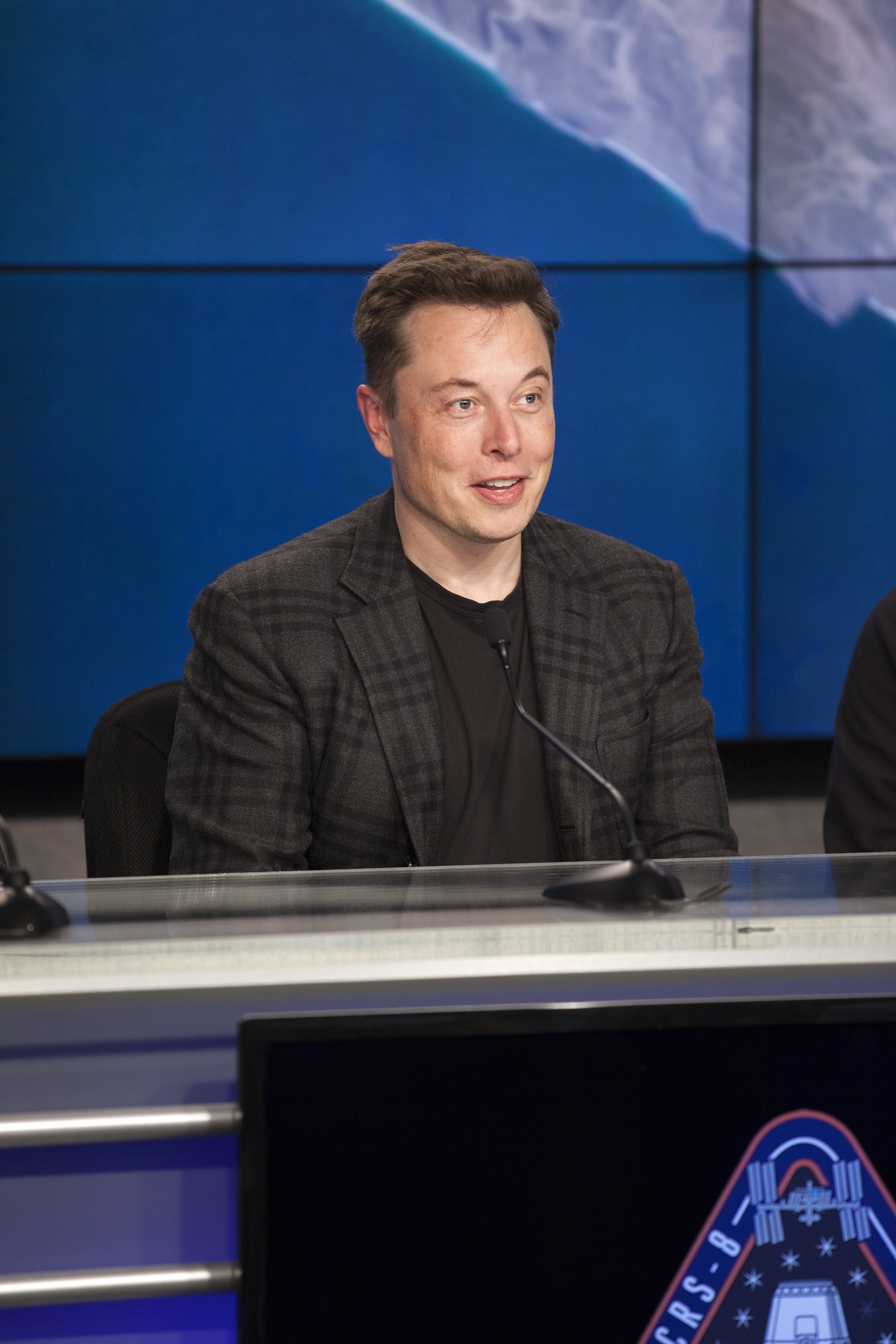 Photos of the Post Launch Press Conference after a successful launch of SpaceX CRS-8 and successful landing of the Falcon 9 rocket on the barge.