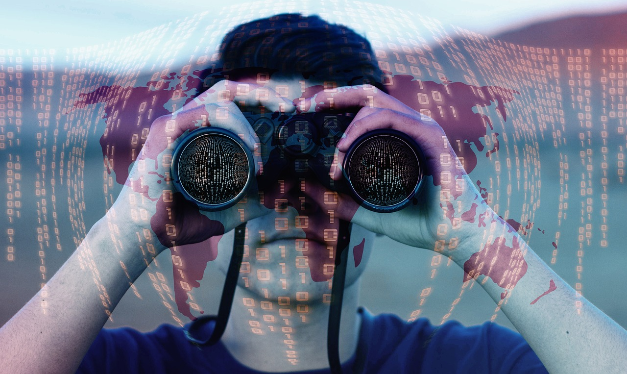 A man looking through a binocular with binary superimposed on the image