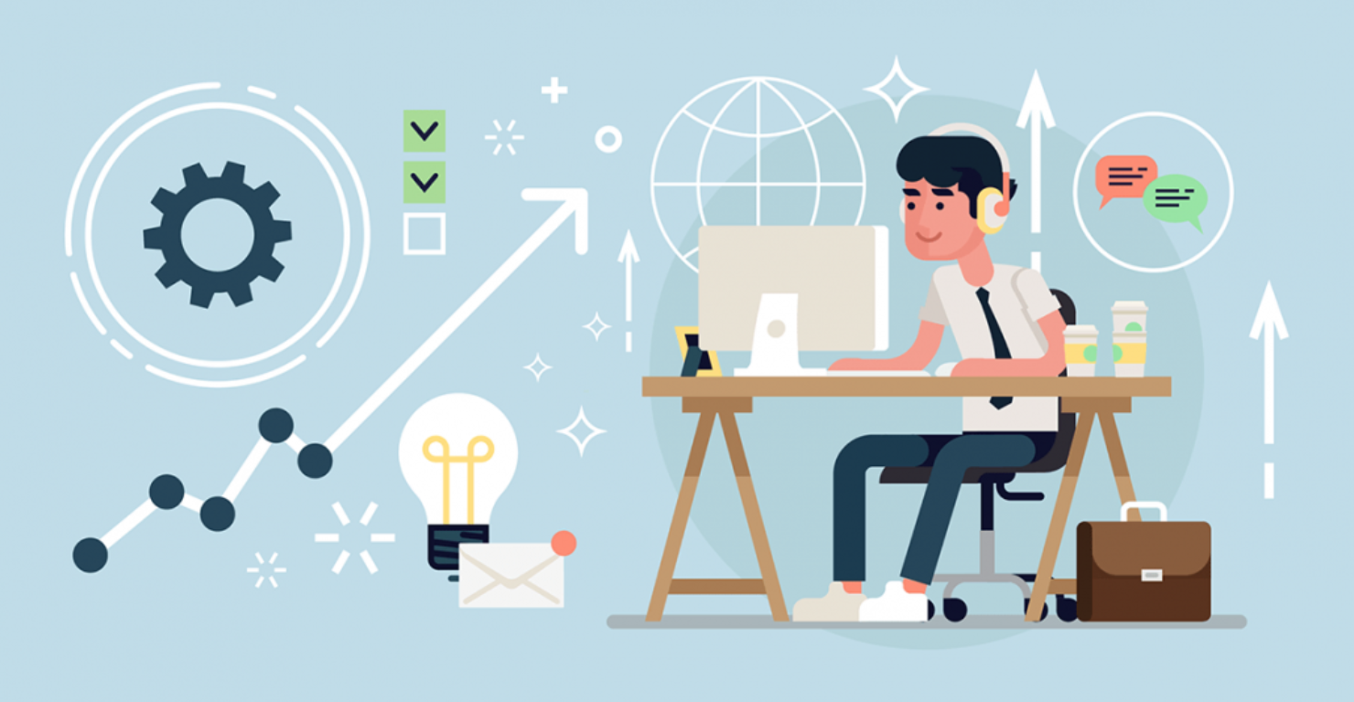 Productivity illustration with a man sitting at a computer table working while listening to music.