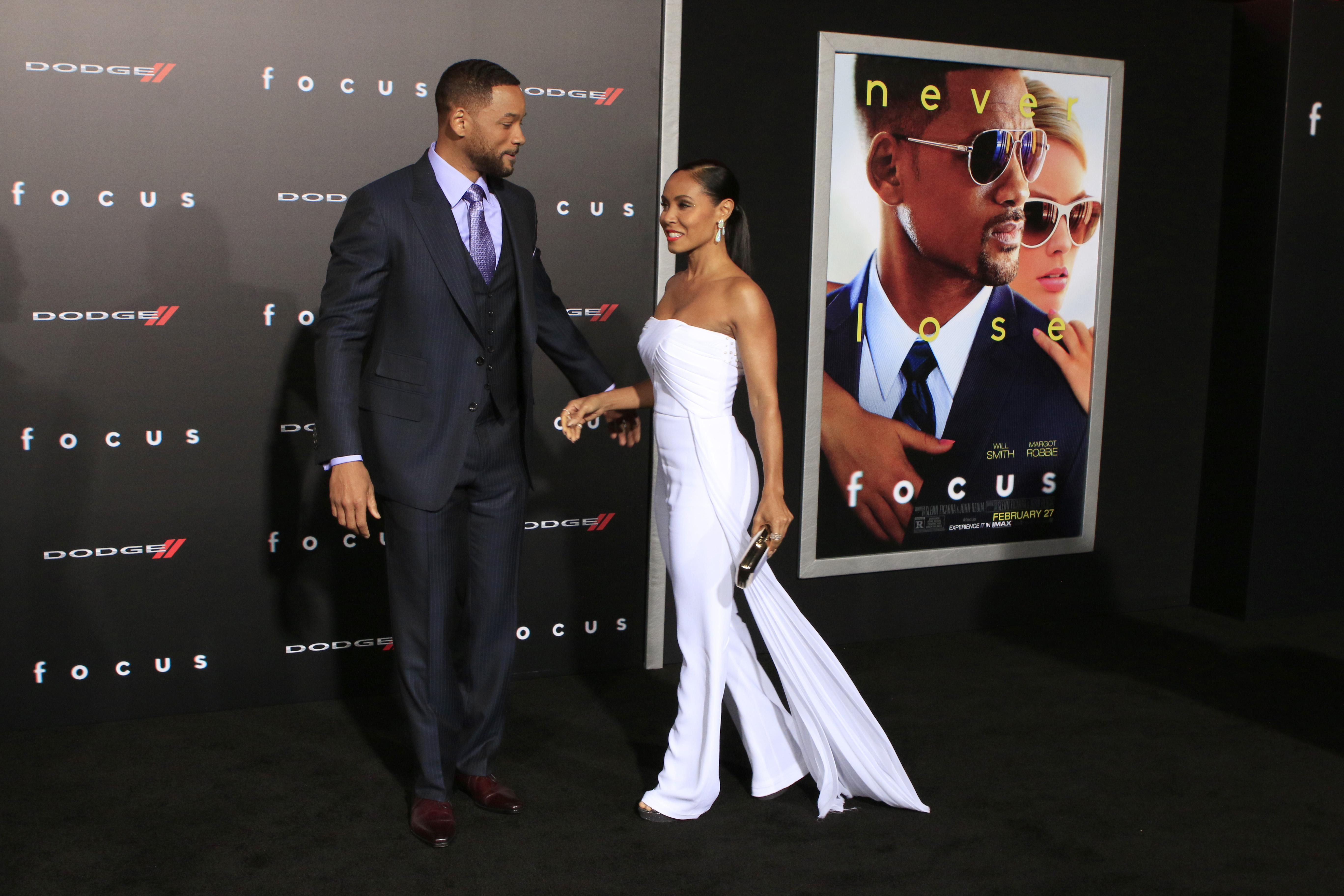 Will and Jada Pinkett Smith attend a red carpet event for a movie premiere