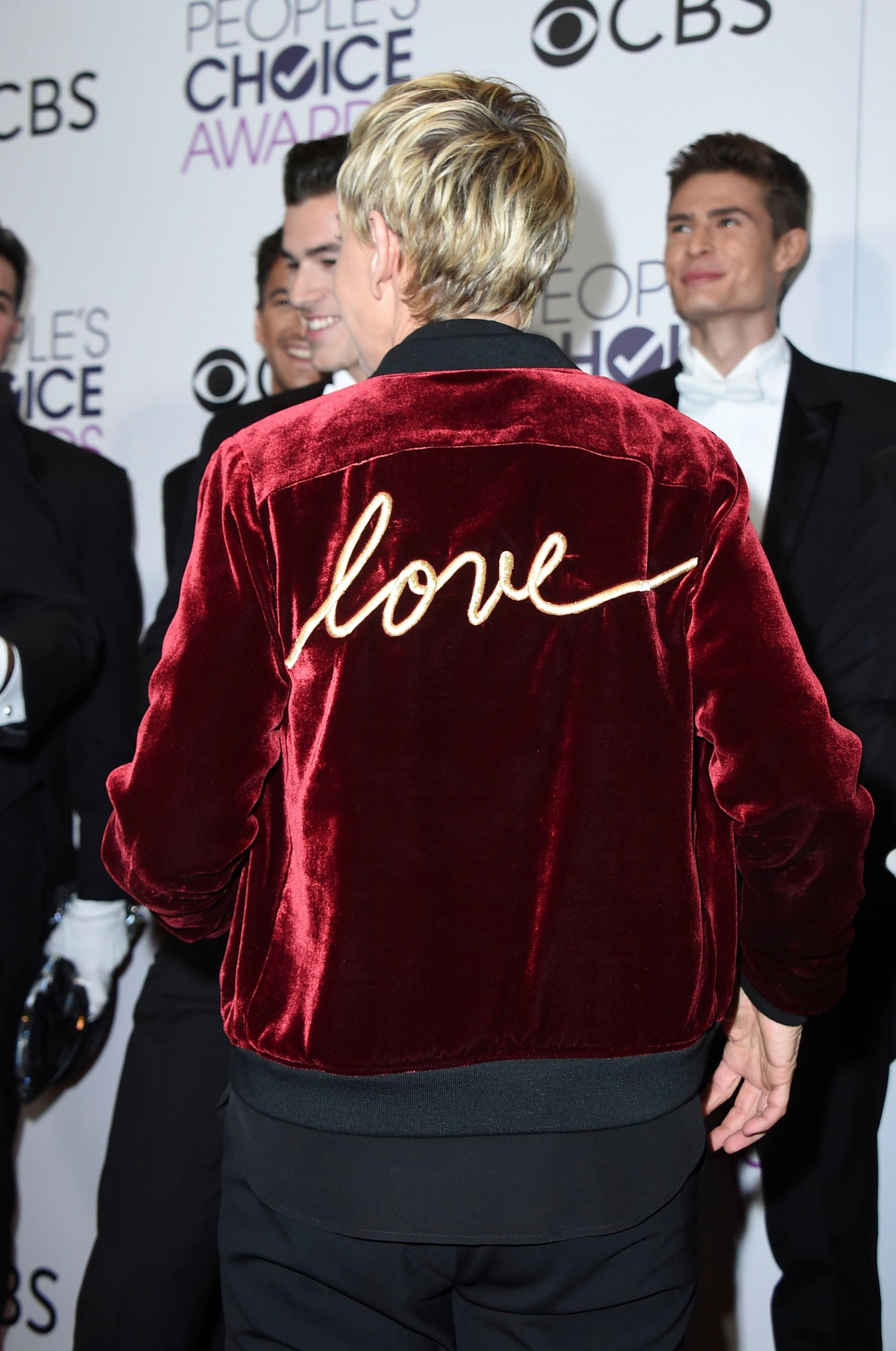 DeGeneres' adorns her brand's Love Varsity Jacket at the People's Choice Awards 2017 in Los Angeles, California. (Photo: Shutterstock)
