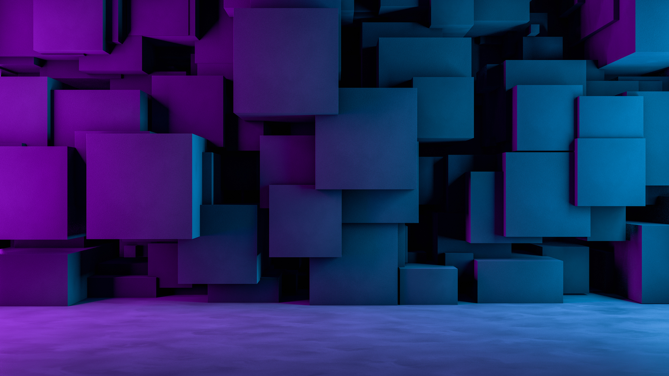 3d rendering of abstract concrete cubes. Architecture concept. Neon Lights.