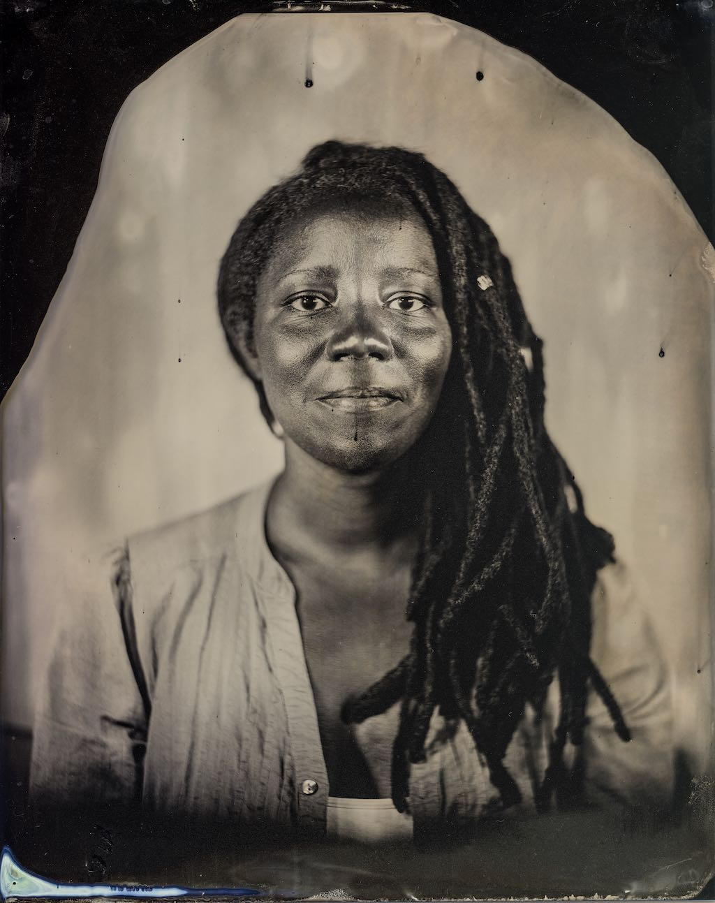 Black & White tintype photo of cultural worker, Mi'Jan Celie