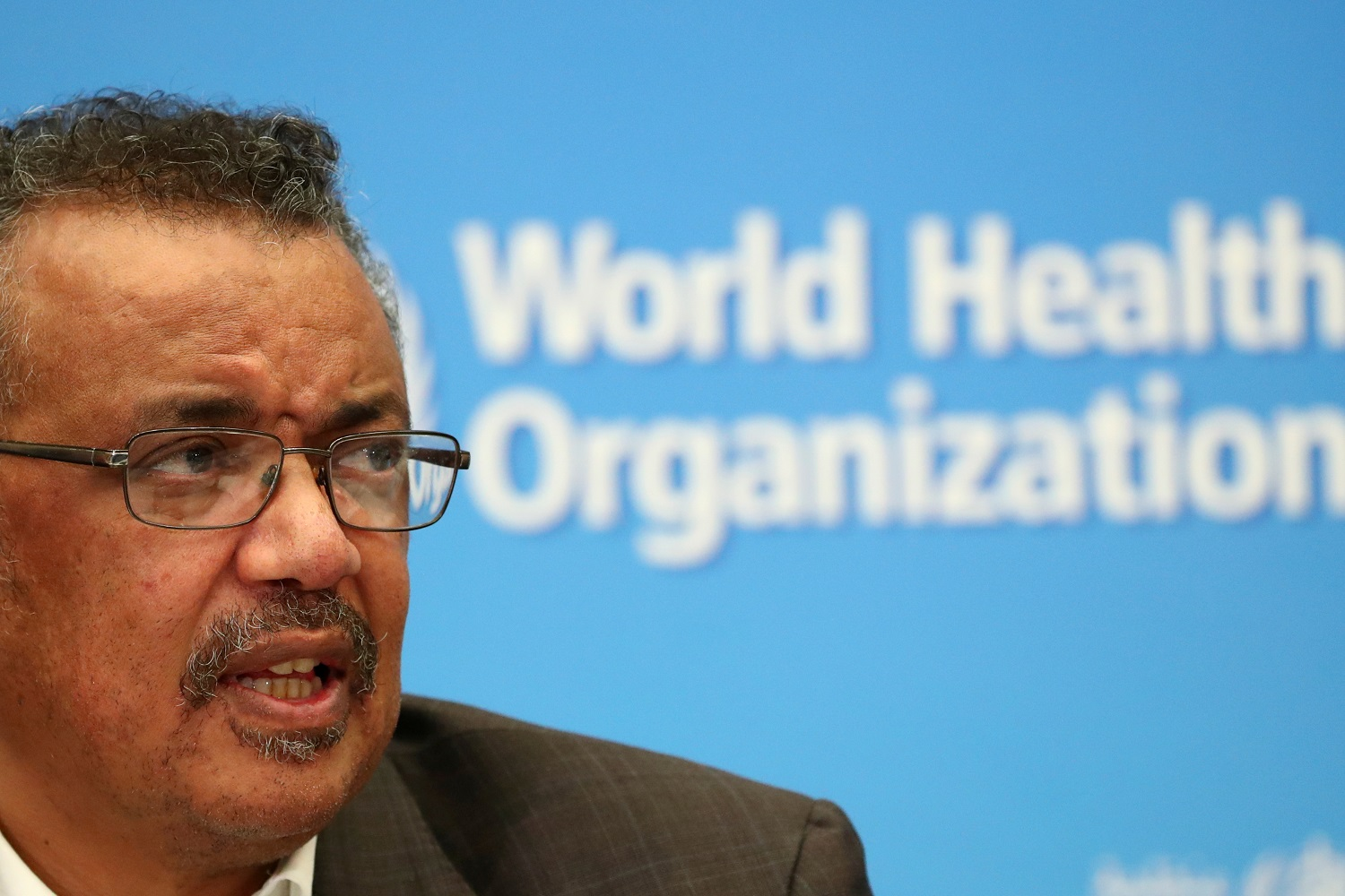 FILE PHOTO: Director-General of the World Health Organization (WHO) Tedros Adhanom Ghebreyesus speaks during a news conference after a meeting of the Emergency Committee on the novel coronavirus (2019-nCoV) in Geneva, Switzerland January 30, 2020. REUTERS/Denis Balibouse/File Photo