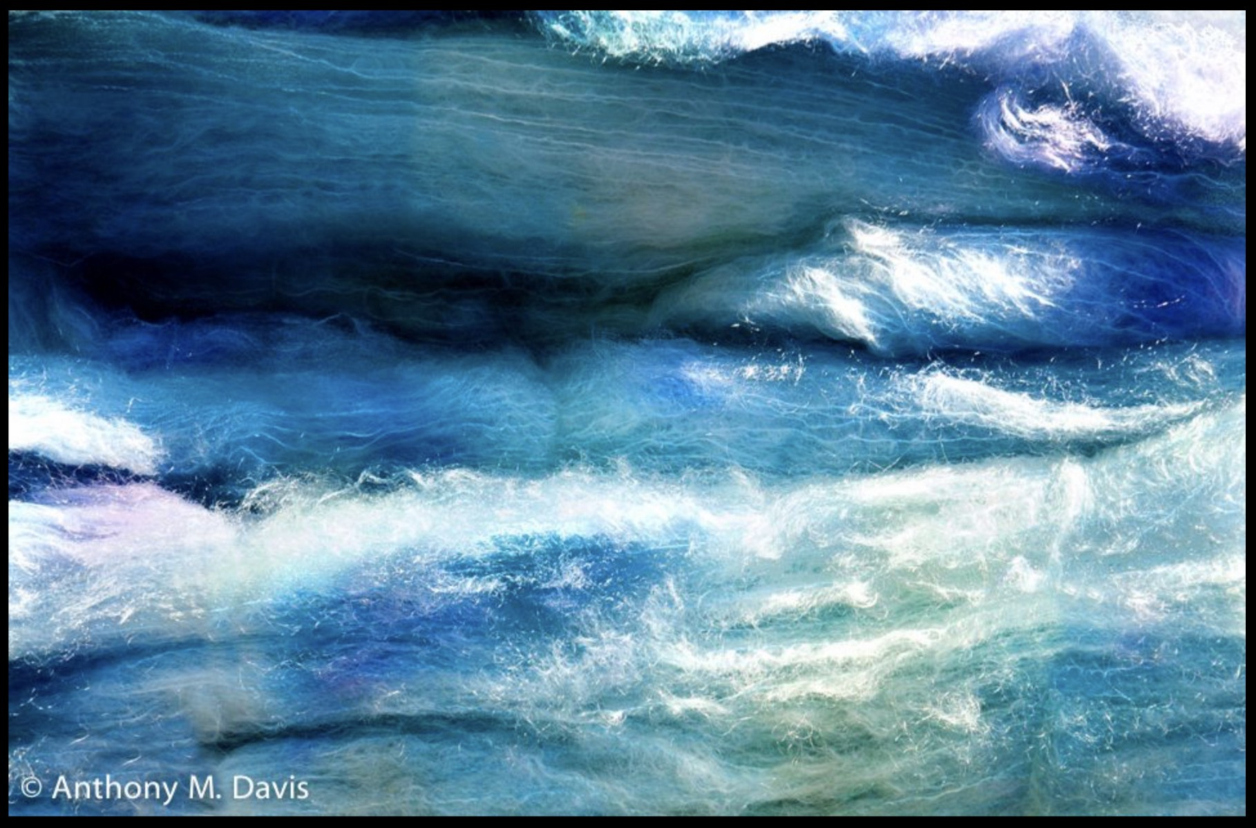 waves of blue and white wool