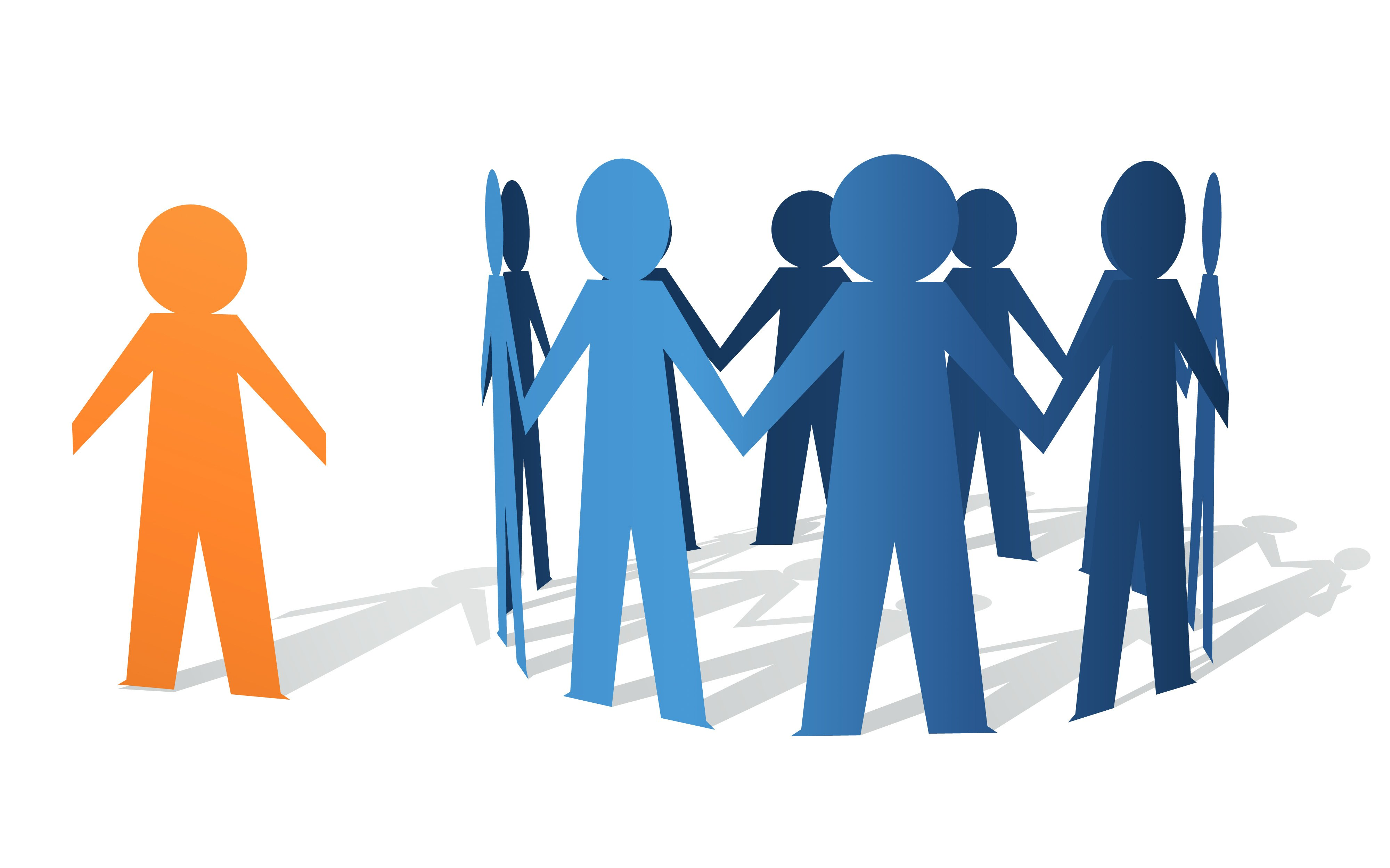 One orange paper person stands alone outside the group of blue paper people circle.