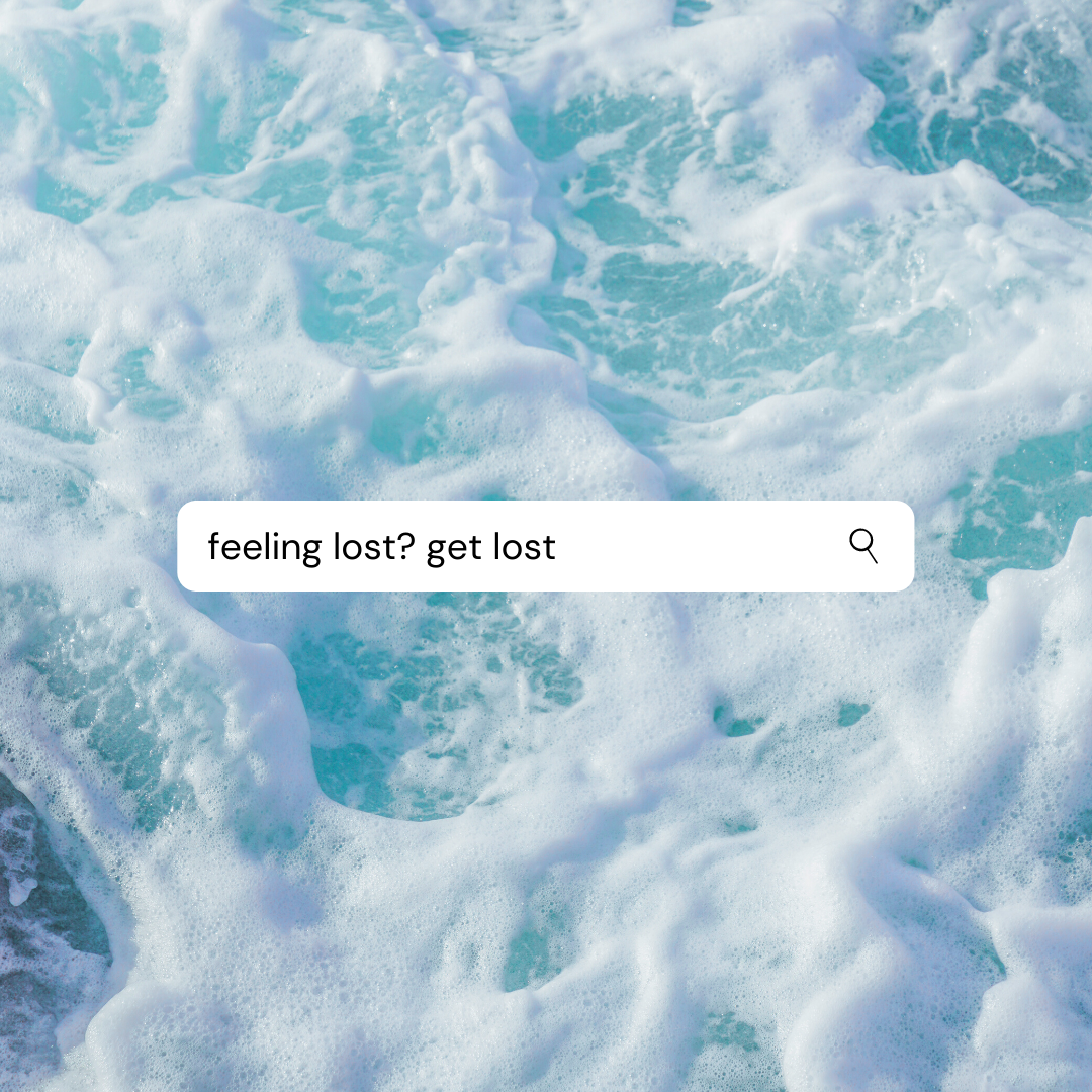 choppy blue sea with a search field saying feeling lost? get lost