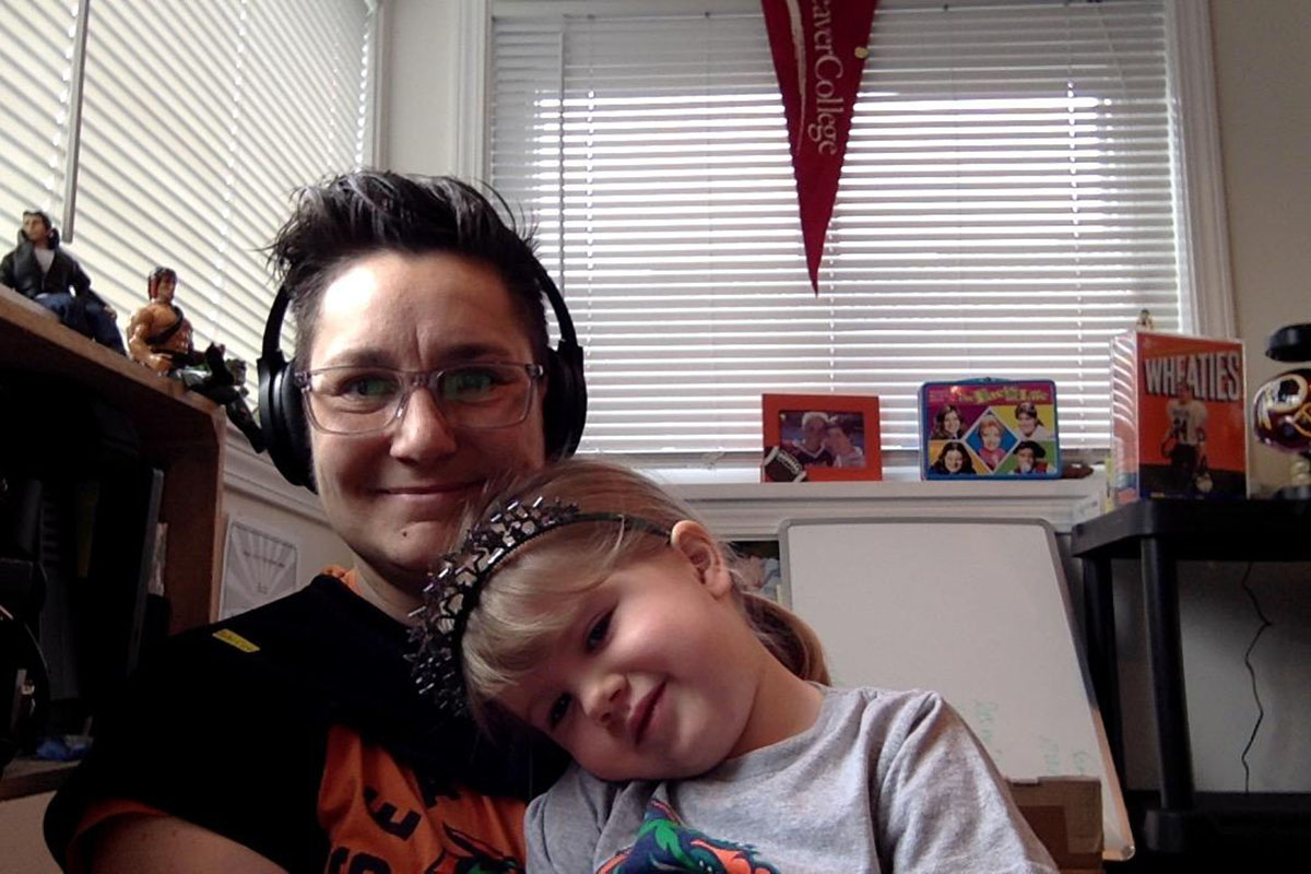 VMG Studios producer Cyndi Butz-Houghton with her daughter on a Zoom call while working remotely