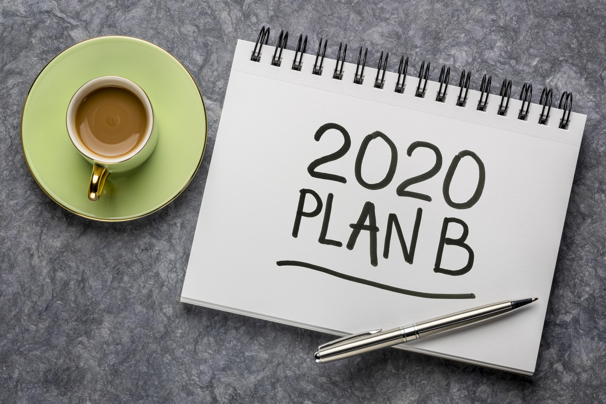 2020 plan B - change of business and personal plans for 2020 coronavirus pandemic and market recession, handwriting in a sketchbook
