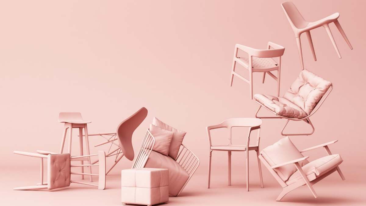 pink messy chairs with pink background