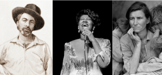 America contains multitudes. From left: Walt Whitman, Aretha Franklin and Dorothea Lange's famous photo of Florence Owens Thompson in 1936. / Photos via National Endowment for the Humanities (Walt Whitman); Raymond Boyd/Getty Images (Aretha Franklin); Library of Congress (Dorothea Lange's Migrant Mother)