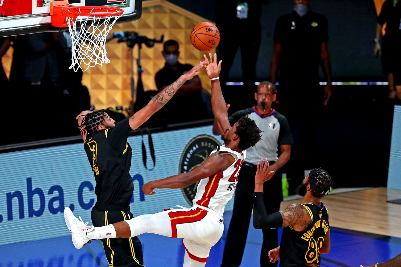 Oct 9, 2020; Lake Buena Vista, Florida, USA; Miami Heat forward Jimmy Butler (22) shoots the ball against Los Angeles Lakers forward Anthony Davis (3) during the fourth quarter in game five of the 2020 NBA Finals at AdventHealth Arena. Mandatory Credit: Kim Klement-USA TODAY Sports