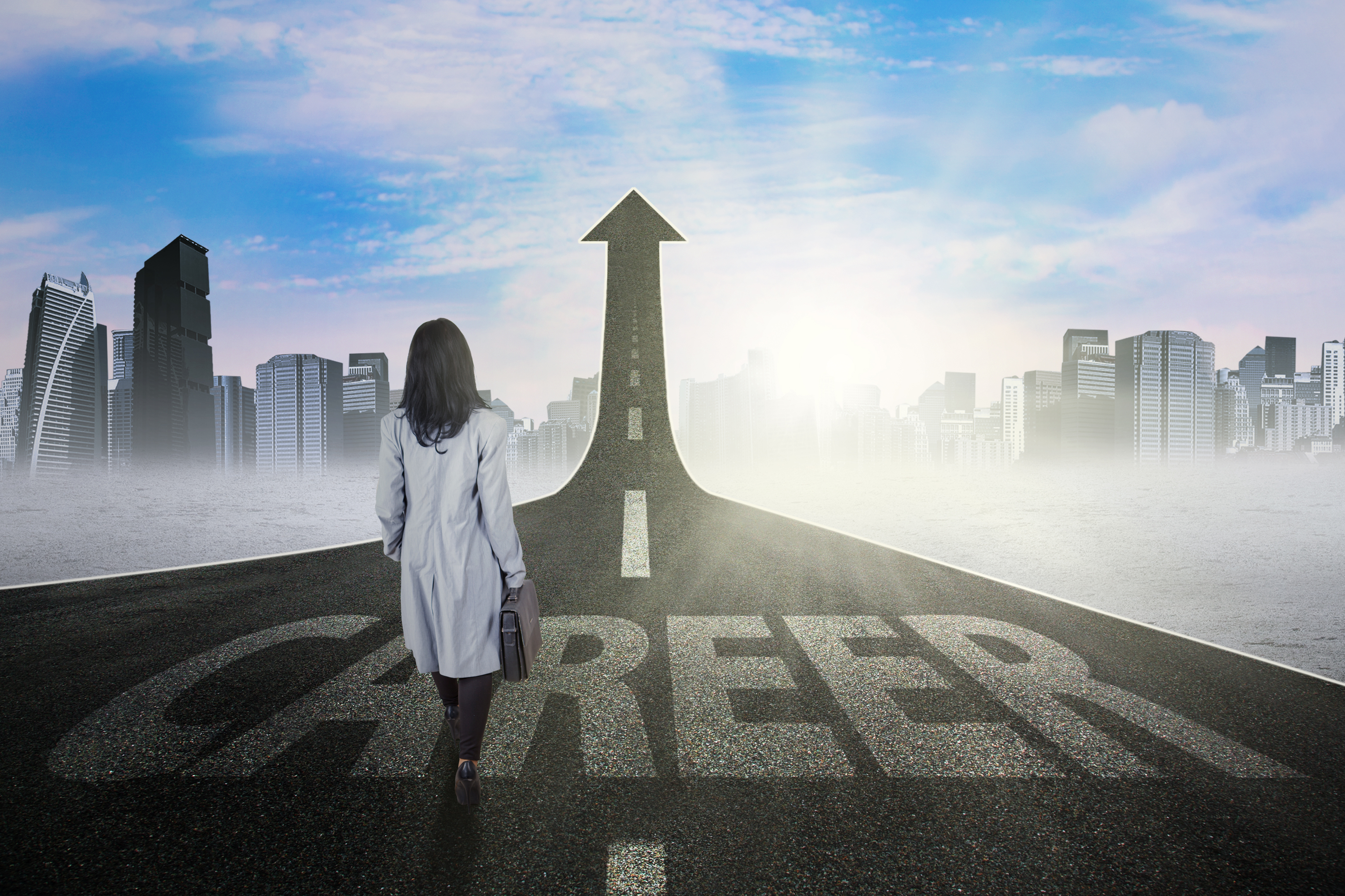 Photo of young businesswoman walking on the street with upward arrow and career text