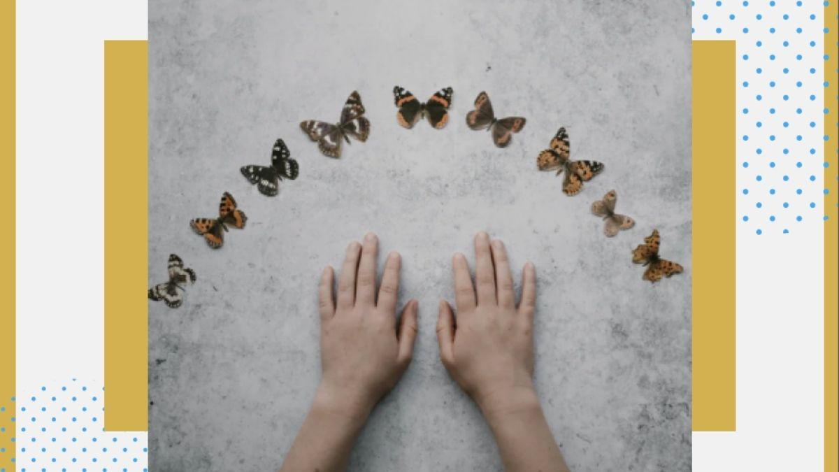 The butterflies symbolize hope, and the child's hand is reaching out towards the butterflies and aiming for hope. Picture By: Annie Spratt