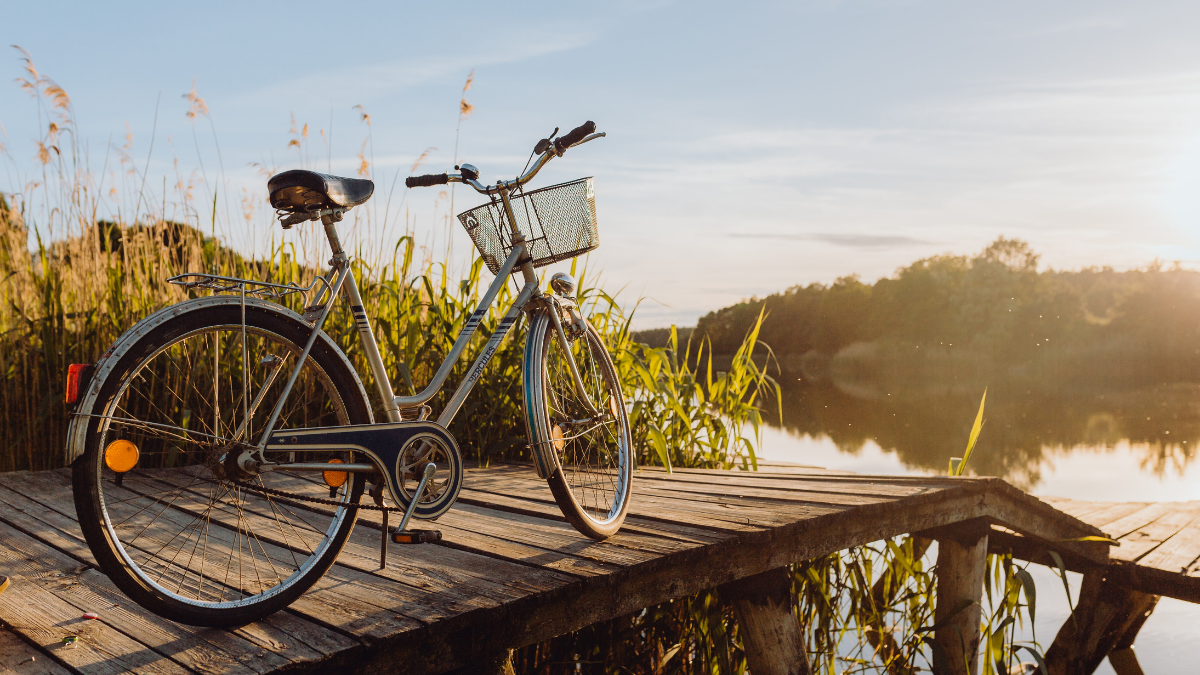 bicycle on a boat dock in the sunlight