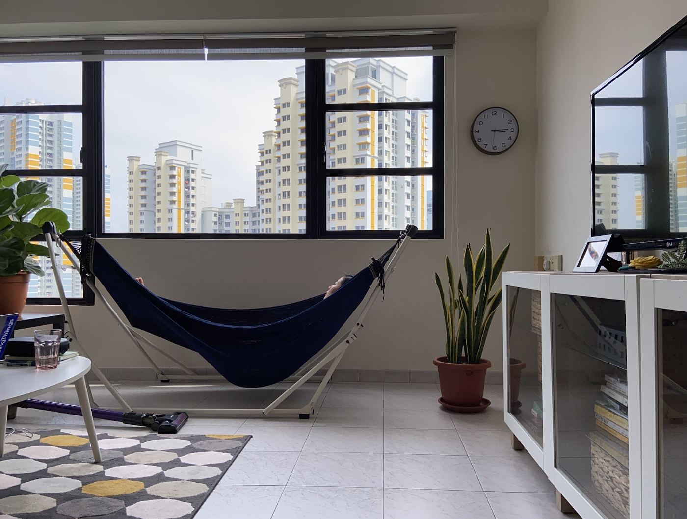 Hanging out in a hammock at my friend's place in Tiong Bahru.