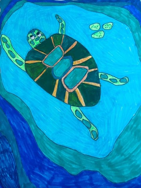 On our 2019 beach trip, my granddaughter drew this sea turtle.