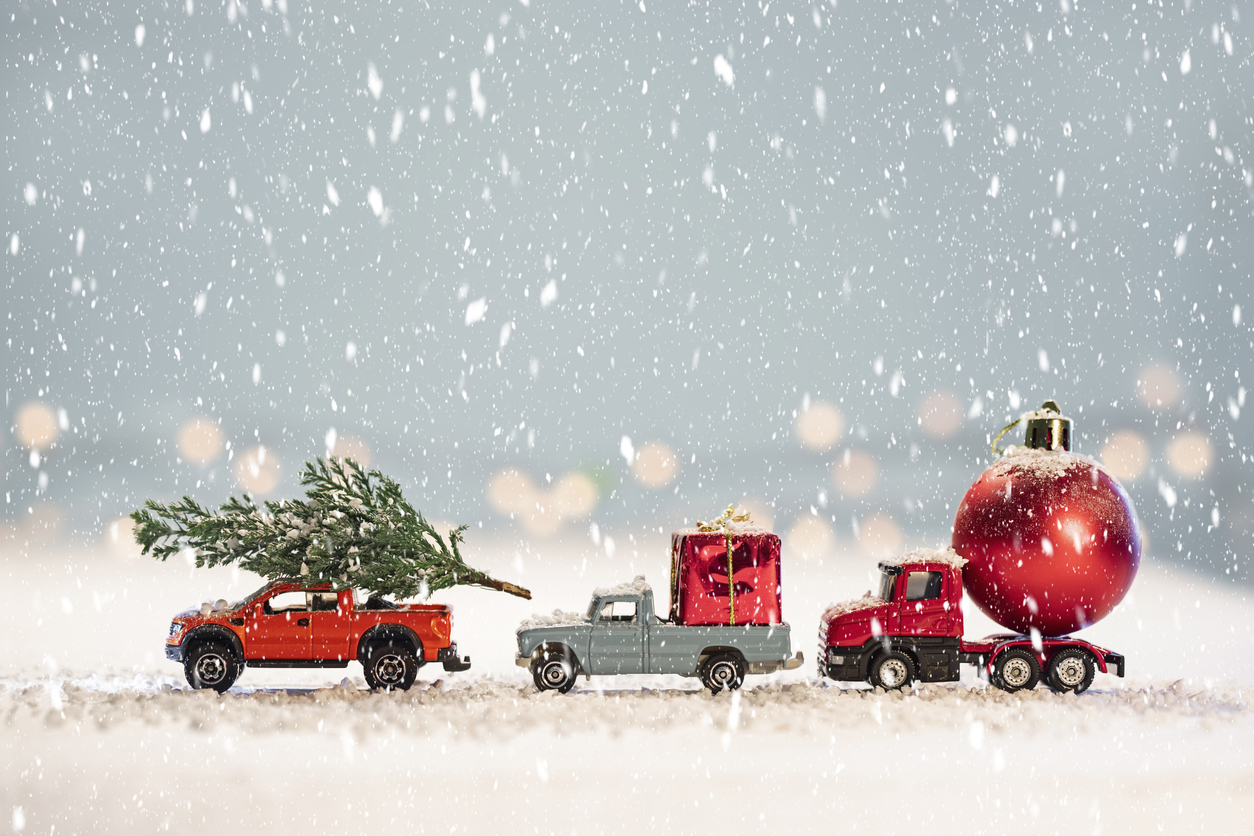 Toy cars with  Christmas gifts