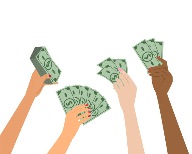 People hands holding money. Business concept. Vector illustration.